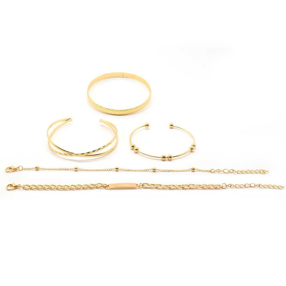 女性ブレスレットファッションビーズクロス幾何学オープニングゴールドブレスレットセットシンプルな女性腕輪ウェディングパーティージュエリーアクセサリー