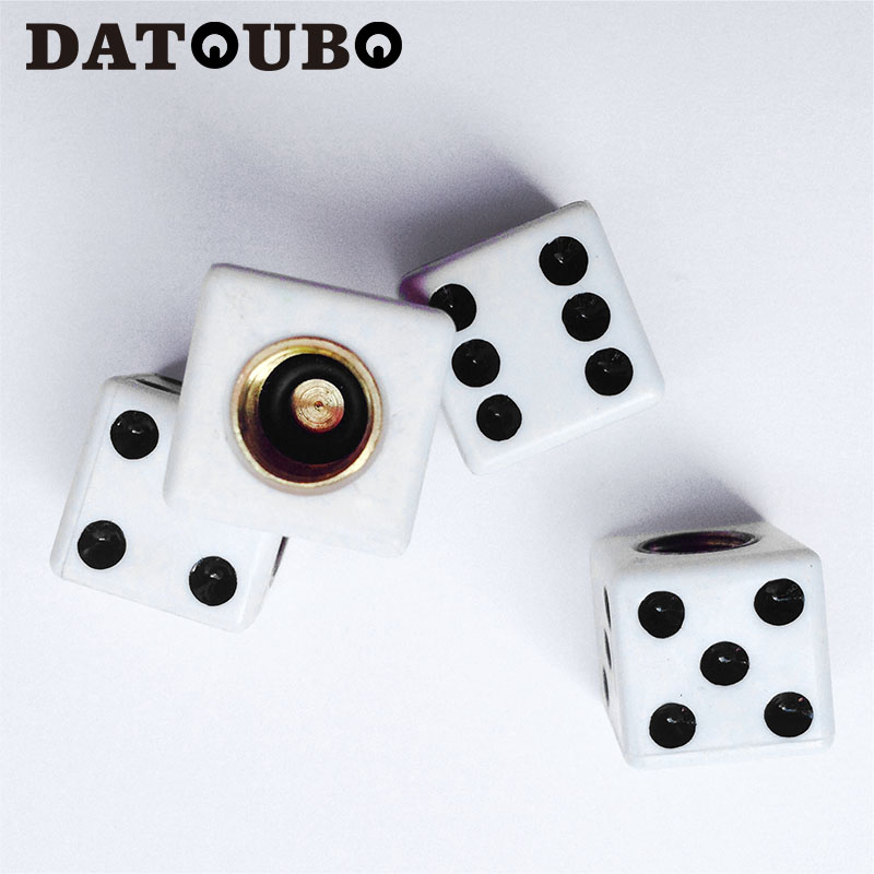 Symbol Of The Brand Datoubo 16 Pcs High Quality Brass Abs Material Dice Design Car Tire Valve Stems Cap,universal Schrader Wheel Tyre Valve Cap Easy To Repair
