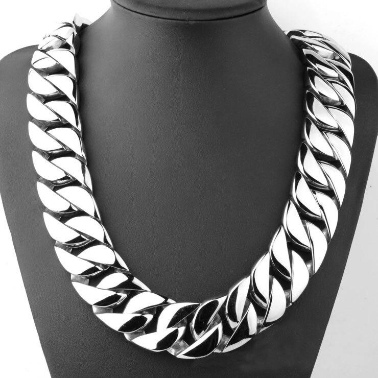 Top qualité ton argent 316L acier inoxydable poli bordure 24mm bande 70 cm longueur solide lourd longue chaîne collier bijoux