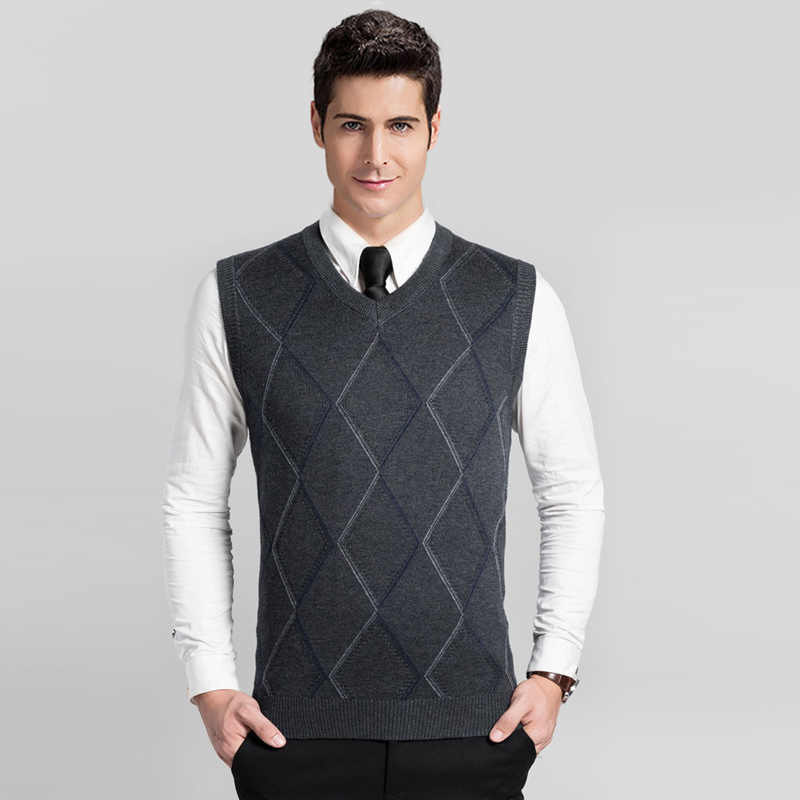 2016 New Design Autumn Fashion V Neck Sleeveless Mens Argyle Wool Sweater Vest
