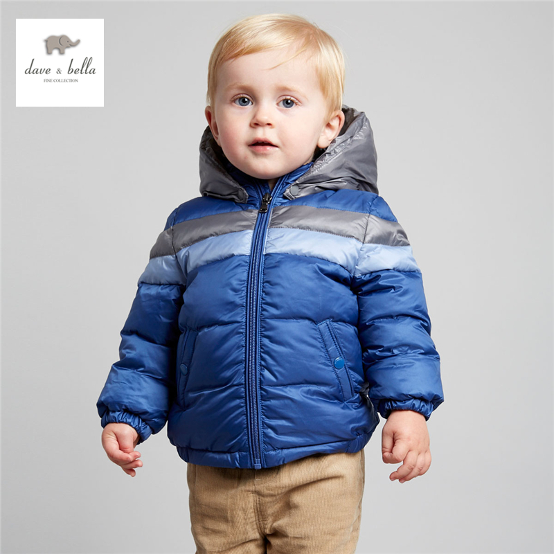 DB3889 dave bella winter baby boy down feather coat kids white duck down feather coat with hood boys red blue padded jacket furry hood drawstring pockets zip up padded coat