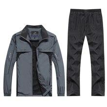 새로운 남성 운동복 세트 봄 가을 2 조각 Tracksuit 스포츠 정장 재킷 + 바지 Sweatsuit 남성 패션 의류 크기 L 5XL