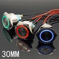 Синий кольцевой светодиодный светильник, 30 мм, 6 в, 12 В, 24 В, 220 В, мгновенный/блокирующий кнопочный переключатель, DPST, металлический промышлен...