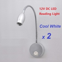 2pcs Lot 12V DC LED Lotus Reading Light Warm White Aluminum Alloy RV Caravan Motorhome Camper