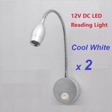 2 шт. 12 В DC LED лотоса Чтение свет холодный белый Алюминий сплав Освещение RV/Караван/автодом/Camper прицепы гибкий настенный светильник