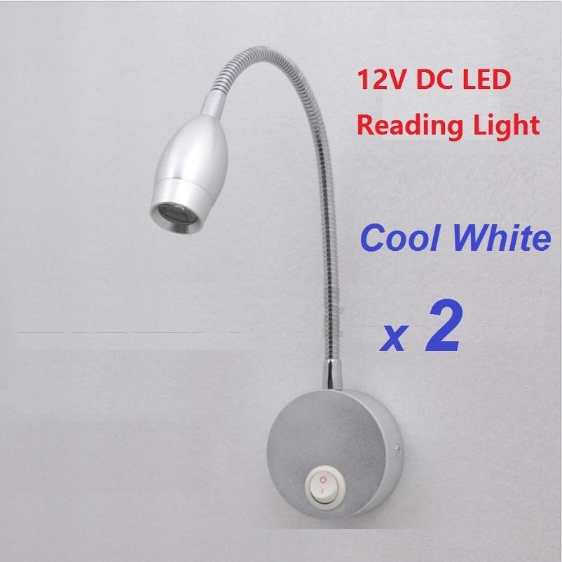 2pcs 12V DC LED Lotus Reading Light Cool White Aluminum alloy Lighting RV/Caravan/Motorhome/Camper Trailer Flexible Wall Lamp