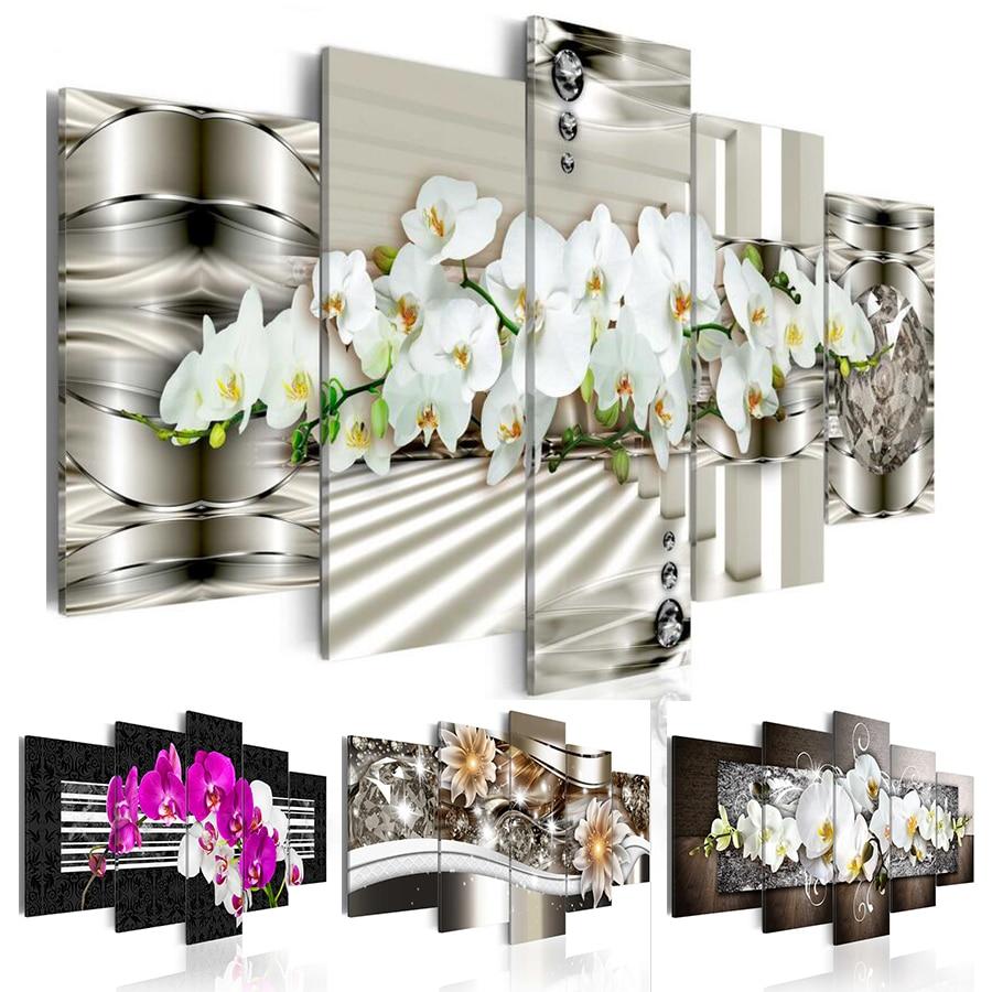 5PCS/Set Diamond Flower Fashion Wall Art Canvas Painting ...