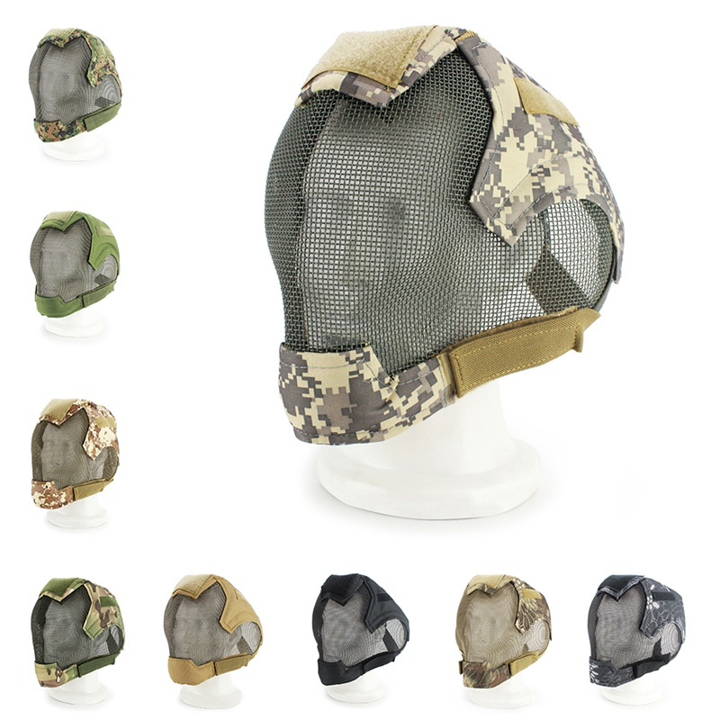 2019 New Airsoft mask full face mask military war game steel mesh paintball protective mask tactical full face mask|Cycling Face Mask| |  - title=