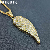 Hip Hop Iced Out Bling Angel Wings Necklace Pendant Gold Color Stainless Steel Full Rhinestones Necklace Rappers Jewelry