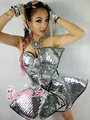 female silver costumes singer dancer Christmas bar Laser paillette fashion dj style one piece ds costumes performance wear