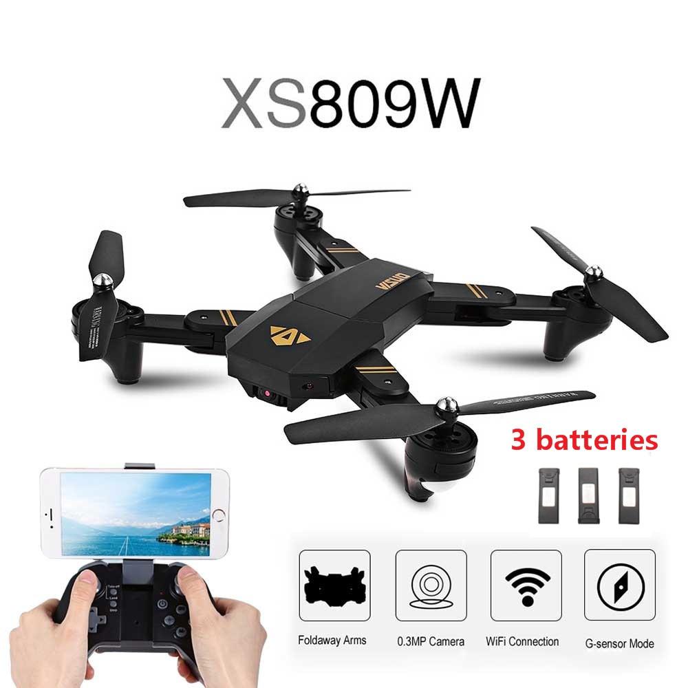 Hot VISUO XS809W WIFI FPV Pieghevole Braccio FPV Quadcopter Con 2MP 0.3MP Macchina Fotografica 6 Assi RC Drone Giocattoli RTF VS e58