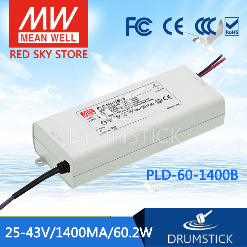100% Original MEAN WELL PLD-60-1400B 43V 1400mA meanwell PLD-60 43V 60.2W Single Output LED Switching Power Supply [Real1] polaroid pld d201 dl5