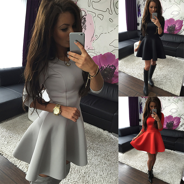 KAYWIDE Fashion Women s 3 4 Sleeve Sexy Spring Women Dress Bodycon Ruffles  O Neck Office Dresses Ladis Empire Vestidos 6ee4396982