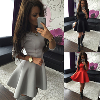 Fashion Women S 3 4 Sleeve Sexy Spring Women Dress Bodycon Ruffles O Neck Office Dresses