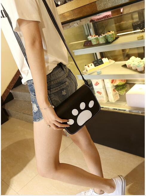 1 piece cat dog paw print flap handbags hotsale women shopping coin satchel ladies joker shoulder messenger crossbody bag ...
