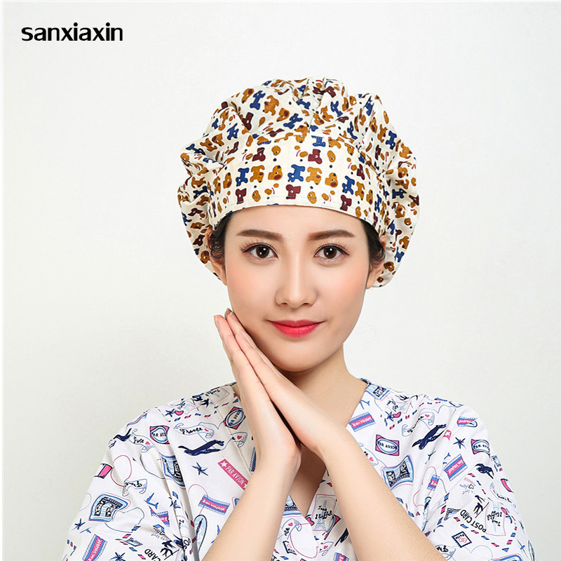 Sanxiaxin Nurse Medical Surgical Caps Dentists Scrub Cap Beauty Salon Laboratory Pharmacy Medical Caps Surgical Hats Cotton Soft