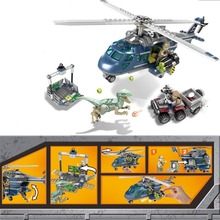 433pcs Jurassic World Raptors Car Helicopter Building Block SY1079 Compatible with LEGOings SY01