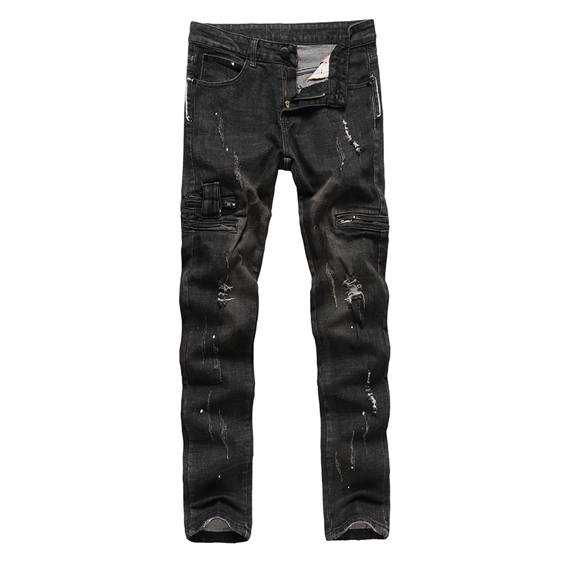 High Quality Mens Ripped Biker Jeans 100 Cotton Black Slim Fit Motorcycle Jeans Men Vintage Distressed