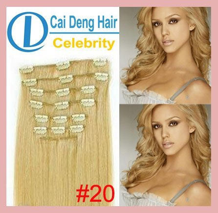 100 Human Hair Extensions Clip In On 20 Dark Ash Blonde 100g 10pcs 21clips