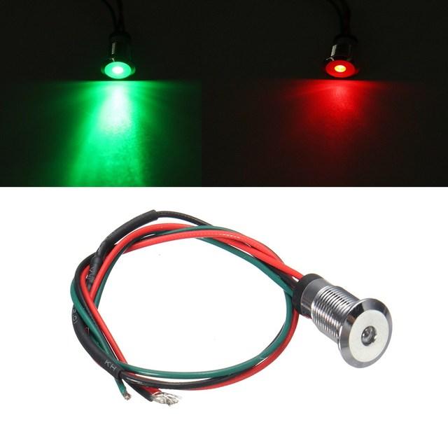 1pc 12v 8mm warning light dual color led greenred dash pilot panel indicator car