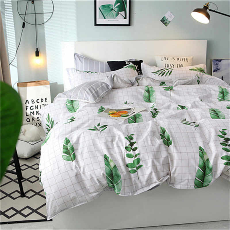 Hot Sale  Bedding Set 4pcs Flat Sheet Set Red Heart Bed Linen Set Sheet Pillowcase&duvet Cover Set Cute Bird Child Bedclothes