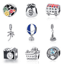 Originele 100% 925 Sterling Silver Bead Charm London Bus Eiffeltoren Reizen Hanger Charms Fit Pandora Armbanden Diy Sieraden(China)