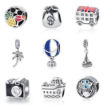 Original 100% 925 Sterling Silver Bead Charm London Bus Eiffel Tower Travel Pendant Charms Fit Pandora Bracelets DIY Jewelry