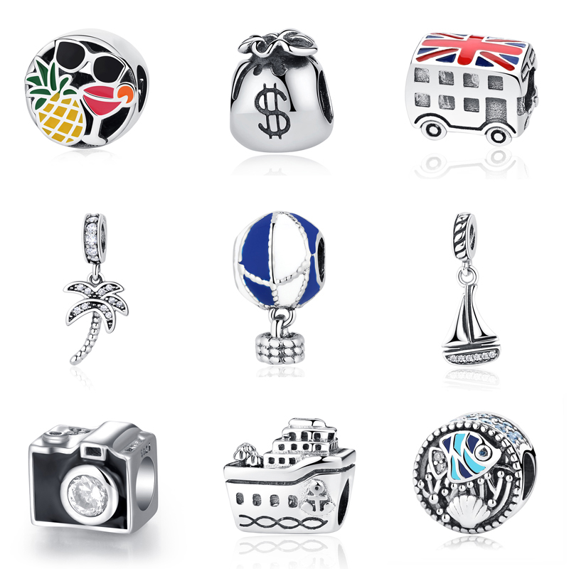 Original 100% 925 Sterling Silver Bead Charm London Bus Eiffel Tower Travel Pendant Charms Fit Pandora Bracelets DIY Jewelry
