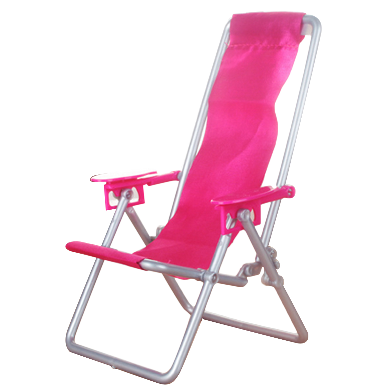 Kids Mini Foldable Lounge Rocking Beach Chair Deckchair Recliner Sunbathing Chair Dollhouse Furniture Accessories for Barbie Toy