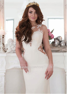 Image 2 - Exquisite Jewel Neckline Natural Waistline Mermaid Wedding Dress With Lace Appliques Cutout Side Sexy Open Back Bridal Gown