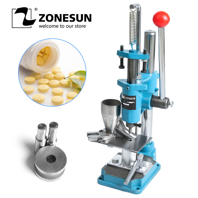 ZONESUN Mini Press Machine Lab Professional Candy Sugar Tablet Manual Punching Machine Medicinal Making Device For Hot Sale manual metal bending machine press brake for making metal model diy s n 20012