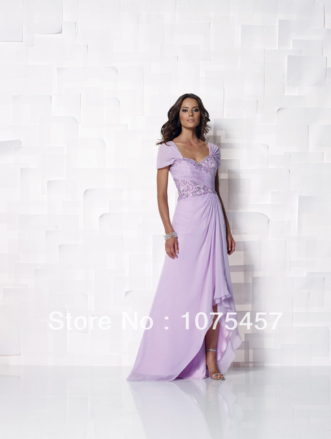 4a244bc5b77 Short Front Long Back Light Purple Mother of Bride Dresses Short Sleeve  Chiffon Appliques with Beading Free Shipping MJ5