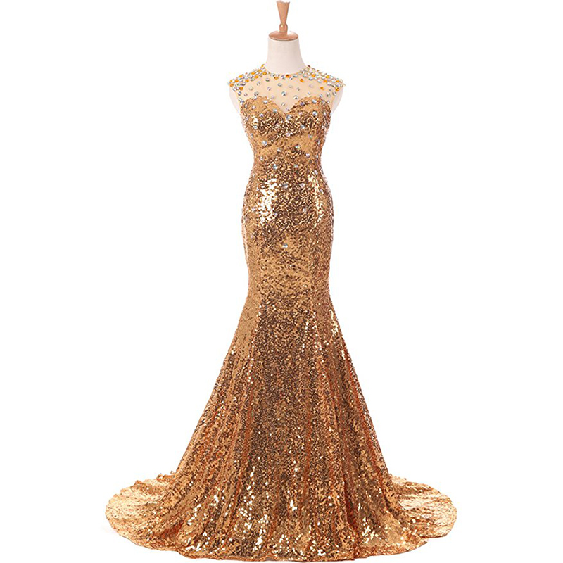 Gold Sequins   Prom     Dresses   O-neck Diamonds Top Sleeveless 2019 Long Formal Party   Dresses   Mermaid Style vestidos de fiesta Longo