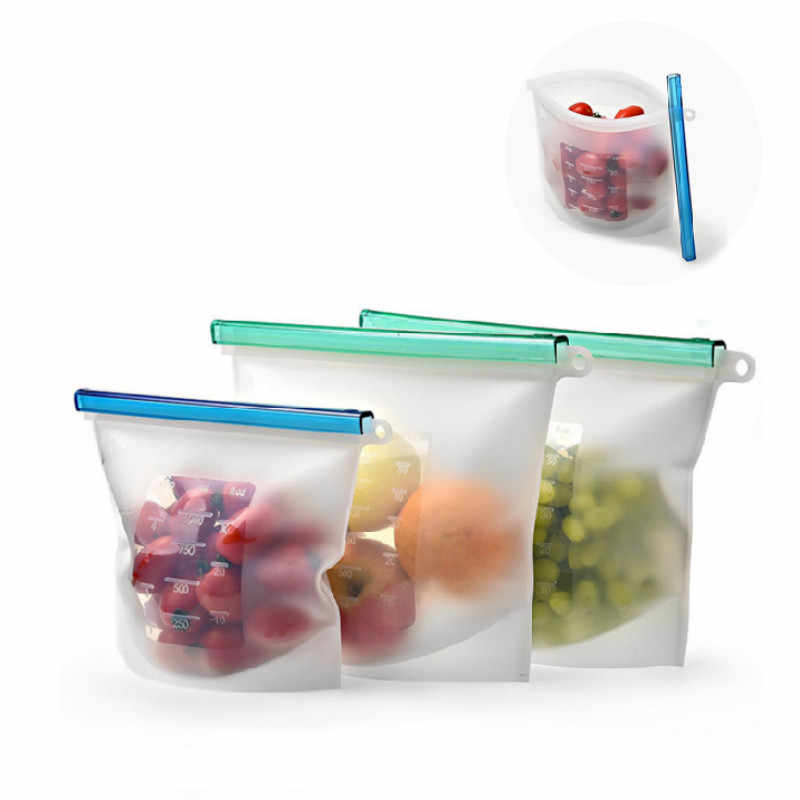 Reusable Silicone Food Bag Fresh Sealed Preservation freezer High Capacity Airtight Seal Storage Ziplock Containers 1000/1500ml