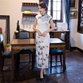 Free Shipping Short Sleeve Qipao Chinese Traditional Clothing Long Cheongsam Dress For Women's China Dress White
