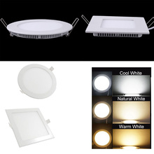 6W/9W/12W/18W LED Panel Light Recessed Downlight Round/Square Home Lighting High Bright Ceiling Lamps AC85-265 + Driver