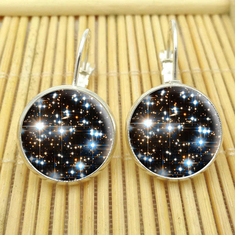 6 style Fashion Galaxy Space Earring Silver Plated French Lever Back Glass Cabochon Copper Earrings for Women Jewelry