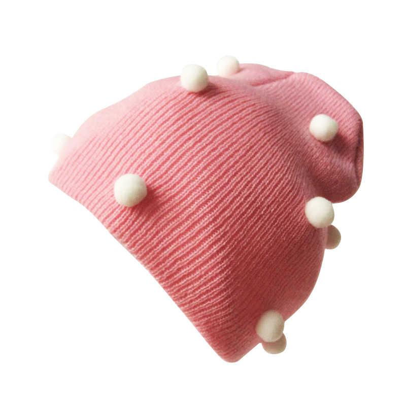 หมวกเด็กถักหมวก Pompom สำหรับโครเชต์เด็กฤดูหนาวเด็กหมวก Beanie หมวก