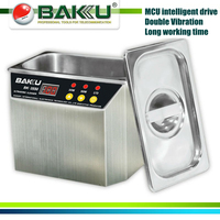 (12 pieces/lot) , Fast Shipping! Stainless Steel Ultrasonic Cleaner,brand BAKU,BK 3550.use For Communications Equipment