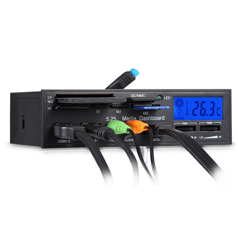 USB 3.0 Front Panel Drive Bay for Desktop Computer Chassis Front Panel LCD Temperature Display Fan Speed Control for Computador