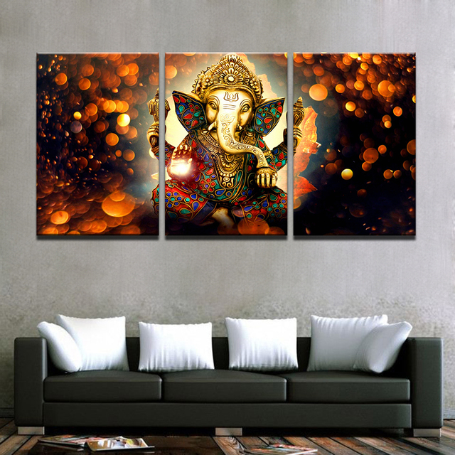 3 Pieces HD Printed Modular Wall Art Pictures Canvas Home Decor Room Elephant Trunk God Painting Ganesha Posters Living Bedroom