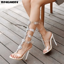 цены TINGHON Summer Luxurious gladiator High Heels sandals women Sandals Rhinestone Heel Women Sandals Wedding Party shoes