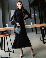 HAMALIEL High Quality Autumn Winter Long Knitted Dress 2018 Fashion Black Knitting Long Sleeve Slim Casual Pleated Tassel Dress