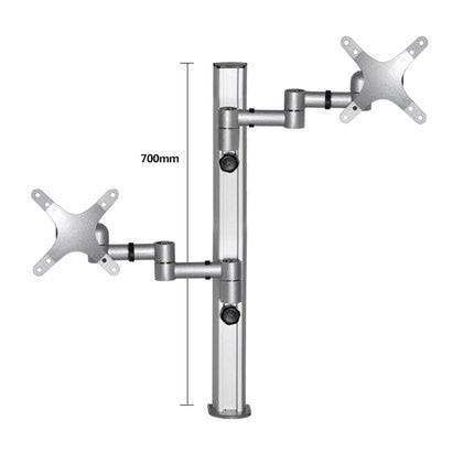 DM-6D 10-27 aluminum dual arm 2 lcd tv table mount tilt 360 rotate double monitor desktop stand vesa 75 100 rotatable bracket