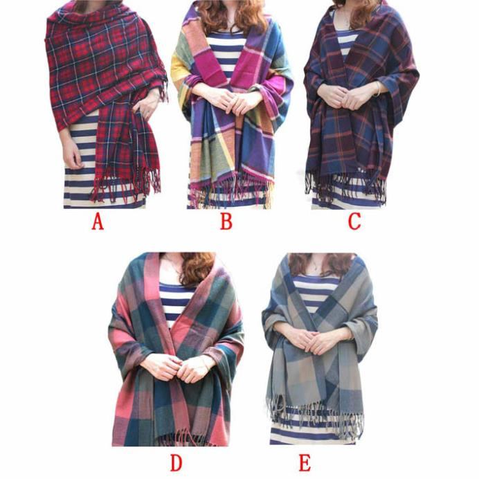 Fantastic Hot 2014 Oversized Blanket font b Tartan b font Shawl Scarf Warm Shawl Plaid Cashmere