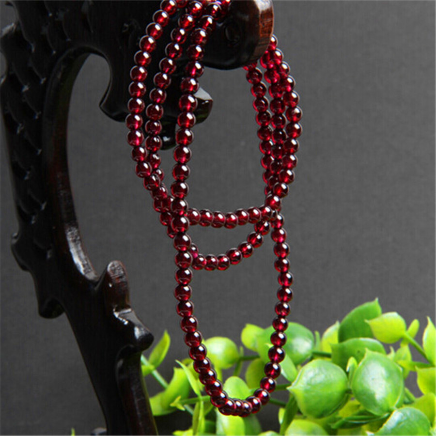 6mm 108 Bead Genuine Wine Red Garnet Quartz Crystal Transparent Round Bead Stretch Charm Natural Stone Bracelet 4 6mm natural garnet wrap bracelet silver red wine charms bracelet round beads bracelets for women