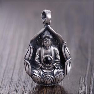 Image 3 - NEUE 990 Silber Tibetischen Avalokitesvara Bodhisattva Anhänger Halskette Silber Kuanyin Anhänger Guanyin Buddha Amulett Glück