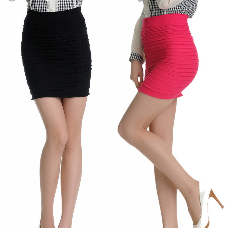 New Fashion 16 Colors Summer Women Skirts High Waist Candy Color Plus Size Elastic Pleated Short Skirt Free Shipping QB001-N