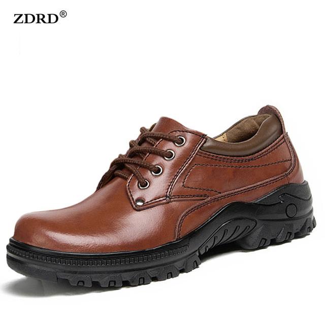 Brand New 2016 Otoño Invierno Hombres Zapatos Casuales de Alta Calidad Los Hombres de Cuero genuino Zapatos de Los Planos Cómodos de Piel Caliente Negro Hombres zapatos