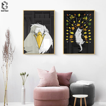 Anime Eagle Cat Wall Art Canvas Painting Posters and Prints Picture for Young Bedroom Decoration